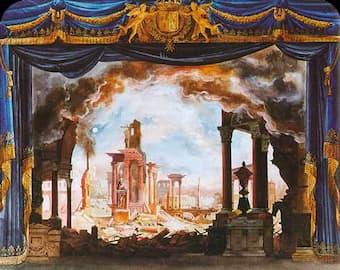 Set design for the opera Le siège de Corinthe, Paris, 1826.