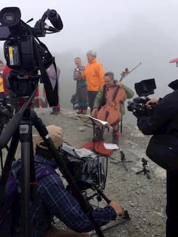 """Ludovit Kanta climbed up the 3003-meter peak of Tateyama, one of Japan's """"Three Holy Mountains"""", carrying his cello and camera."""