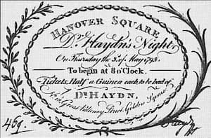 Charlotte Papendiek's 1792 ticket for Dr. Haydn's Night