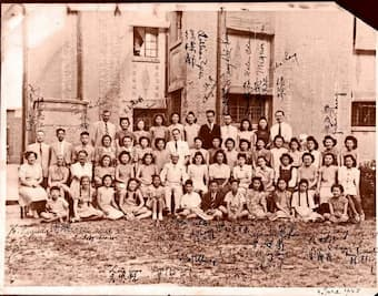 Fou Ts'ong (front left) with his classmates and teachers at Shanghai National Training School of Music, 1945