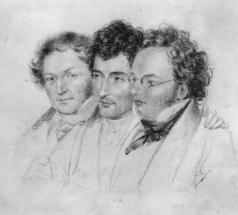 Franz Schubert (right) with Anslem Hüttenbrenner and Jenger: drawing by Josef Teltscher