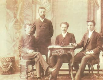 Arensky with his students, including Rachmaninoff (far right)