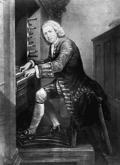 J.S. Bach playing the organ, 1725