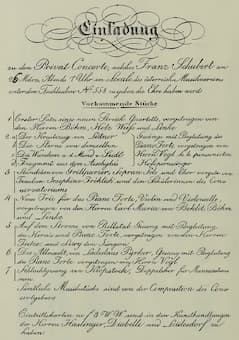 Schubert's one and only public concert programme in 1828