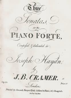 Johann Baptist Cramer Op. 22, dedicated to Haydn