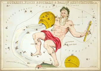 """""""Aquarius, Piscis Australis & en:Ballon Aerostatique"""", plate 26 in Urania's Mirror, a set of celestial cards accompanied by A familiar treatise on astronomy ... by Jehoshaphat Aspin."""