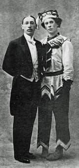 Stravsinky and Nijinsky in his Petrushka costume