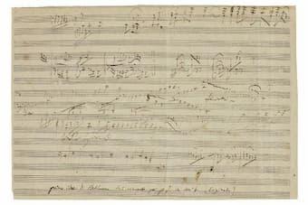 """Sketch manuscript for Beethoven's """"Emperor"""" Concerto"""