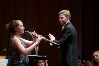 Conductor Leonard Weiss with Chayla Ueckert-Smith