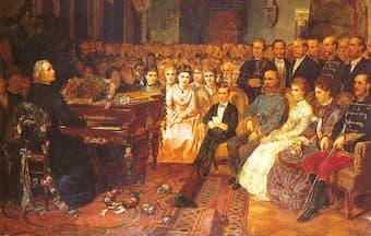 Franz Liszt playing a concert for the emperor Franz Josef