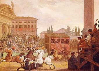 Roman Carnival Barbary Horse Race by C.F. Perry, 1827
