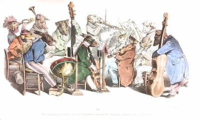 J.J. Grandville: Nouveau langage musical, a société d'amateurs exécutant une symphonie, dans un cercle philharmonique