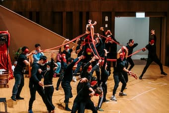 Rehearsal with dancers (for the party scene in Act II, <em>La Traviata</em>) last month. They all wore masks as a safety measure. © National Kaohsiung Center for the Arts (Weiwuying)