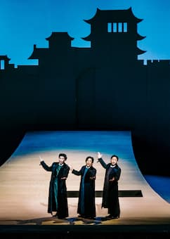 Martin Ng (left) as Ping in Turandot (Weiwuying), August 2020