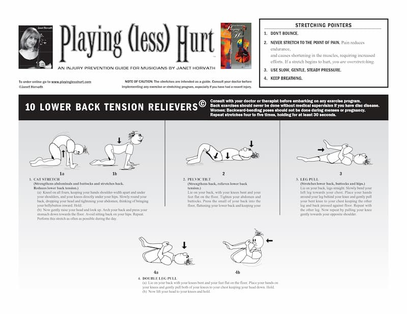 Stretching tips for musicians from Janet Horvath's Playing Less Hurt