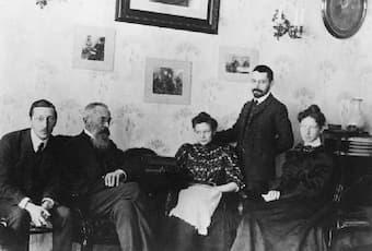 Stravinsky and Rimsky-Korsakov (seated together on the left) in 1908