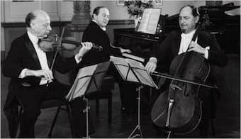 The Beaux Arts Trio in the early 1980s: violinist Isidore Cohen, pianist Menahem Pressler and cellist Bernard Greenhouse.