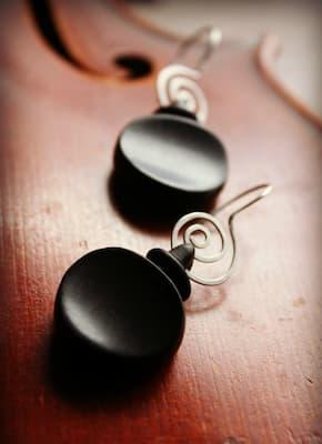 Violin tuning peg earrings