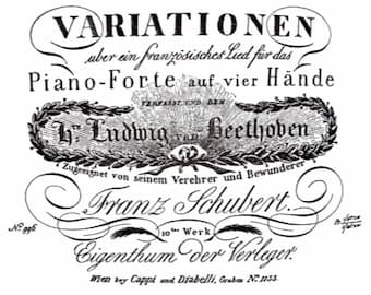 Cover for Schubert's Eight Variations on a French Song, Op.10 D.624, dedicated to Beethoven