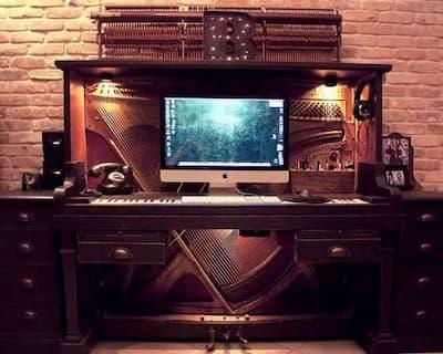 Piano-computer desk