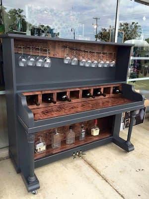 Upright piano mini-bar
