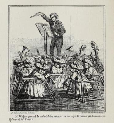 Cham: Richard Wagner: M.Wagner prenant le parti de faire exécuter sa  musique de l'avenir par des musiciens églament de l'avenir (1860) (Le Charivari)