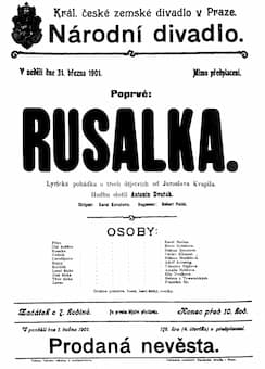 Poster for the premiere of Rusalka in Prague, 31 March, 1901