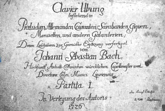 Title page of the first partita, printed in 1726 by Balthasar Schmid of Nuremberg