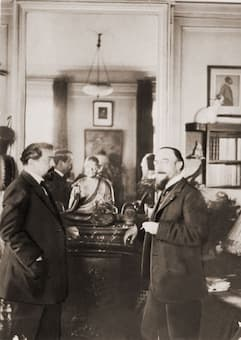 Satie with Claude Debussy in Debussy's home, June 1911, photographed by Igor Stravinsky.