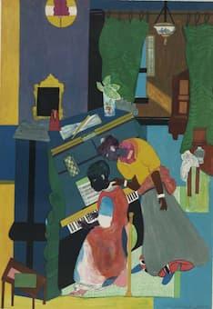 Bearden: Homage to Mary Lou (The Piano Lesson) 1983 (Pennsylvania Academy of the Fine Arts)