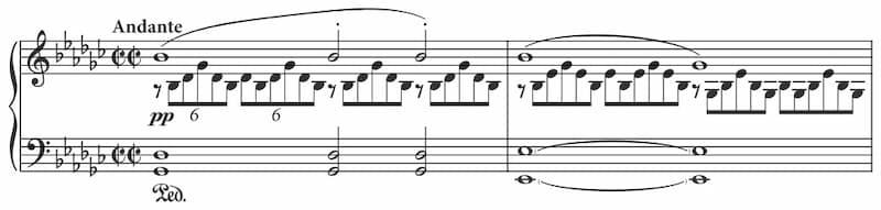 Opening bars of Schubert's G flat impromptu