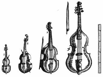 Viols as illustrated in Michael Praetorius: Syntagma musicum: Vol. II De Organographia: Appendix: Theatrum Instrumentorum seu Sciagraphia (1620)
