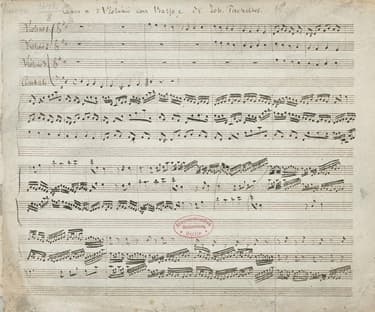 """The first page of the oldest surviving copy of Johann Pachelbel's """"Canon and Gigue in D major."""""""