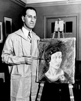 George Gershwin in his New York apartment with his first oil painting.
