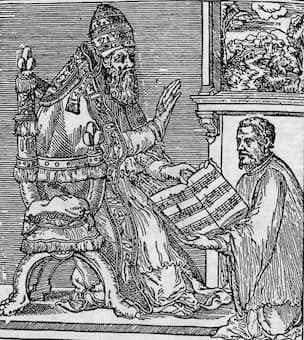 Our composer gives his book of Masses to Pope Julius III
