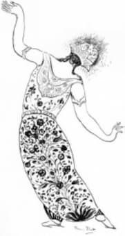 René Piot: Sketch for back of the Péri's costume (1912)
