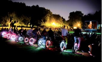 On-stage bicycles will be used to generate energy for the work