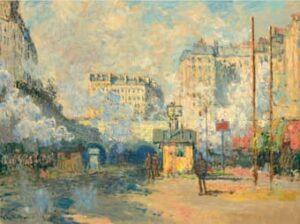 Claude Monet (1840-1926), Extérieur de la gare Saint-Lazare, effet de soleil, painted in Paris, 1877.