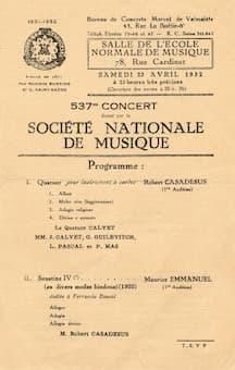Société Nationale de Musique Concert Programme 23 April 1932