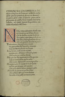 "Dante Alighieri's ""Divine Comedy"" First printed edition, 1472"