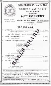 Faure premiere programme Société Nationale de Musique