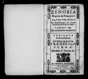 Frontispiece of Albinoni's 'Zenobia'