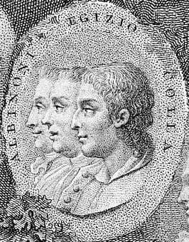 Italian composers Tomaso Albinoni (1671-1750), Domenico Gizzi (Egizio or Egiziello) (1680- c. 1745) and Giuseppe Colla (1731-1806) by Pietro Bettelini (1763–1829)