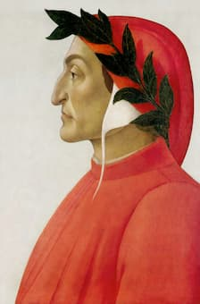 Posthumous portrait of Dante in tempera by Sandro Botticelli, 1495