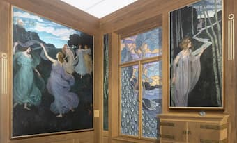 Room corner with Movements 1 and 2 and a reproduction of the destroyed stained glass window (Leopold Museum) (2021)