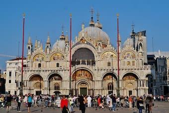 West Facade of St. Mark's Basilica, Venice, Metropolitan City of Venice, Region of Veneto, Italy