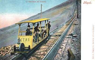 A postcard from 1902 showing the Vesuius funicular, closed in 1955