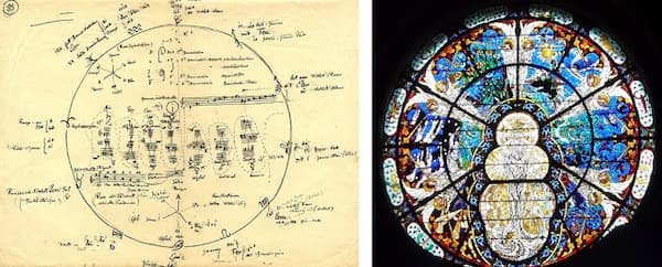 """Rita Strohl - A """"cosmic"""" score by Rita and a stained glass window produced by her husband"""