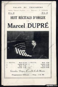 Marcel Dupré's organ recital programme in 1922