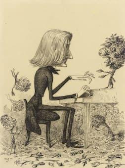 Al Bertrand: Caricature of Franz Liszt, c. 1845